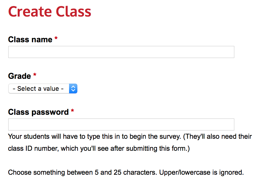 Create class page