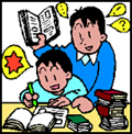 Image of an adult supervising a young boy doing homeworks.