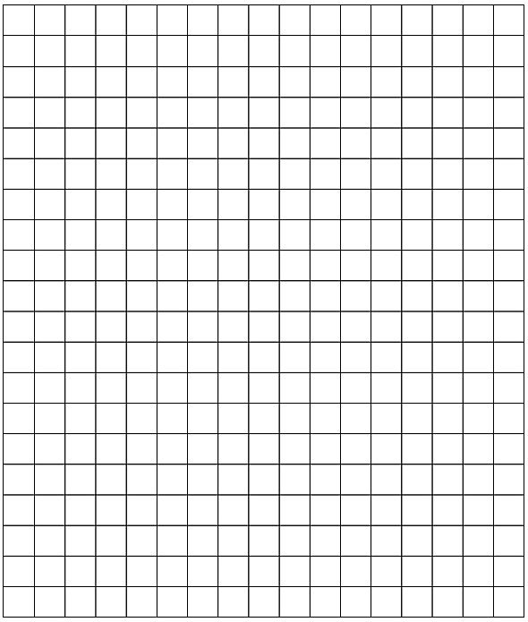 Empty grid to draw chart. 17 columns, 20 rows.
